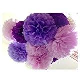 Super44day 30 pièces Papier de soie Fleurs Artisanat Pompons Fleurs Balles de fête d'anniversaire de mariage de fête déco Décoration,14in/12in
