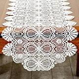 TaiXiuHome Crochet Creux style européen blanc Chemin de table avec floral brodé dentelle tissu pour décorer les maisons les hôtels ...