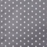 Tissu coton enduit étoile blanche - Gris