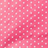 Tissu coton enduit étoile blanche - Rose fuchsia