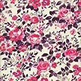 Tissu de coton imprimé - rose, telemagenta et grenadine | Jardin des roses (Un jardin de campagne - grenadine) | ...