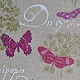 Tissu en lin imprimé - Papillon (Naturel) | 100% lin | Largeur: 140cm (1 mètre)