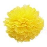 TOOGOO(R) 8''Pompon Boule de Fleur en Papier de Soie Decoration de Noce (Jaune)