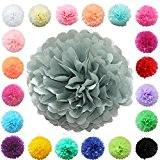 TtS lot de 5 (gris clair) Tissu Papier Pom Pompons Boules de Fleurs Papier de soie Boule Balle Pr Mariage ...