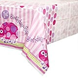 Unique Party - 40393 - Nappe en Plastique 1er Anniversaire Coccinelle - Rose - 213 Cm X 137 Cm