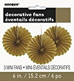 Unique Party - 63263 - Paquet de 3 Mini Rosaces de Décoration en Papier de Soie - Or
