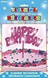 Unique Party - 90879 - Décoration à Gâteau d'Anniversaire - Happy Birthday - Rose Clignotante
