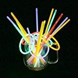 Vicloon 100 Bâtons Lumineux Fluorescents, Bracelets Fluos Lumineux, 5 Couleurs Différentes,pour Fête,Anniversaire