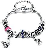 """Vintage bleu fleur rose perle papillon noir avec accents perles DIY Bracelet Pandora européenne pour femmes filles, Floral, 7.08"""""""