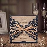 Vstoy Plus récente Bleu roi Kits de Invitation de mariage découpé au laser avec nœud creux Floral Cartes d'invitation pour ...