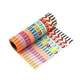 Washi Tape Lot de 10 Masking Tape Ruban Décoratif Noel Cadeau Fete Crochets en Métal Motif