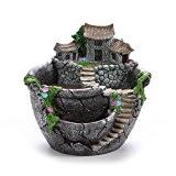 WINOMO Les fleurs artificielles micro paysage plantes grasses Pot minuscule créatif jardinières suspendus Design jardin avec maison douce (argent)