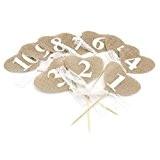 WINOMO Numéros de Tableau 1 à 10 Coeur Bannière en Jute Décoration Pour Mariage Fête