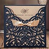 Wishmade découpé au laser Mariage invitations Cartes Bleu marine Floral de fiançailles pour dragées, Carton, bleu marine, 150mmx150mm