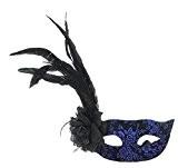 Y-BOA 1 Pièce Masque Vénitien Venise Loup Plumes Femme Mascarade Soirée Bal Halloween Carnaval Costume Marine