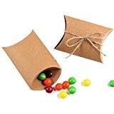 yaluu 100en papier kraft Rectangle Taie d'oreiller cadeau cadeau boîte cadeau mariage faveur bonbons Boîte Cadeau avec corde chanvre
