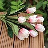 1bouquet de 9têtes magnifique Faux de mariage en fleurs artificielles en soie tulipes Home Office Decor
