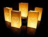 10 x sac de bougie lumière de thé en papier ignifuge décoration - motif cœur