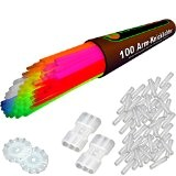 """100 bracelets lumineux fluo 7-COULEURS, note du testeur : 1,4 """"TRÈS BIEN"""", kit complet incluant connecteurs TopFlex x 100, connecteurs ..."""
