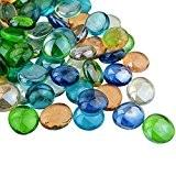 100 env. Décoration d'aquarium Pierre, Ishua Couleurs mélangées rond Galets décoratifs en verre/pierres/perles/pépites