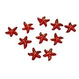 10pcs Étoile de Mer Miniature Décoration pour Micro Paysage Bonsaï DIY - Rouge