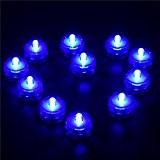 12 Lumières de LED Submersible Batterie Etanche Mariage Partie Sous-marine Bougies Feux, Lumière de Thé (Bleu)