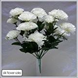 18 Tête Blanche Carnation Fleur Artificielle Brousse Mariage / Tombe / Vase