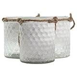 3 x Photophores/Vases en Verre Texturé Blanc Demi-Givré et Cordon en Jute
