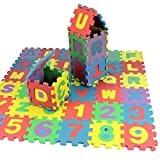 36pcs Tapis de jeu pour enfants Alphabet et chiffres en mousse souple Jeu de puzzle par Trimming Shop
