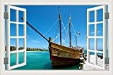 """3D Sticker mural Voilier fenêtre Paysage marin Home en papier peint en vinyle, W0002, 20""""X28"""""""
