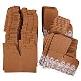 50pcs Kraft Coffrets Cadeaux Papier De Bonbons Avec Ruban De Dentelle D'arc Faveur Du Parti De Mariage