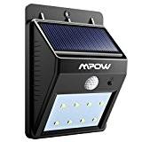 8 LED Lampe Solaire, Mpow 8 LED Lample Sans Fil de Sécurité Détecteur de Mouvement avec Trois Modes Intelligents, Résistant ...