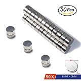 Aimants néodymes par Magnetpow, 50pcs 6mm x 3mm en acier inoxydable Craft Aimant, Super solide N45Aimants de cylindre pour Refridgerator ...