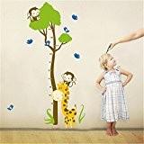 Animal de Bande Dessinée Grand Arbre Toise Stickers Muraux, Owl, Girafe, Lion et Monkey, la Chambre des Enfants Pépinière Autocollants ...