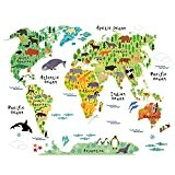 Animaux Carte Du Monde Pour Enfants Stickers Muraux Pour Enfants Chambre Contexte Salon Nursery DéCor Autocollant Amovible Stickers