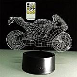 ATD® Creative Tirer Le Vent De Moto 3D Illusion Optique Gradients Colorés LED Night Light Lampe De Bureau Télécommande 15 ...