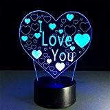 ATD® En forme de coeur Je t'aime 3D Illusion optique Dégradés Colorful LED Lampe de bureau Night Light, cadeau romantique ...