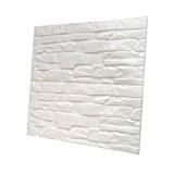 Autocollant Papier Carrelage Blanc Sticker Mural en Brique 3D 60 * 60cm - # 2