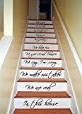 Autocollants décoration pour marche d'escaliers en vinyl 73 x 130 cm avec citation In this House We Are Family We ...
