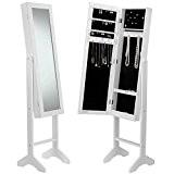 Beautify Porte Bijoux de Sol Organisateur Armoire avec Miroir - Blanc