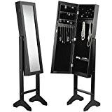 Beautify Porte Bijoux de Sol Organisateur Armoire avec Miroir - Noir