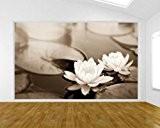 """Bilderdepot24 pajetée peint photo autocollant - autoadhésif """"fleur de lotus - sephia"""" 155x100 cm - vente directe fabricant!"""