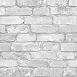 Blanc et argent brique rustique effet papier peint - Windsor revêtements muraux FD41488