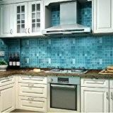 Bleulover 45x500cm Cuisine étanche Mosaic Wall Sticker papier d'aluminium auto-adhésif Anti Huile Wallpaper Bleu