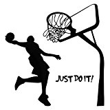 Bluelover Just Do It Basketball Decal bricolage amovible Sports Accueil Salle Decor mur autocollant papier peint sticker