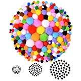 Blulu 200 Pièces Pompons Colorés avec 120 Pièces Auto-adhésives Googly Wiggle Yeux pour la Décoration Artisanale Bricolage
