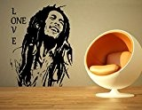 Bob Marley Reggae Rasta Jamaïque sans Raclette. Grand sticker/autocollant en vinyle/Art, noir, Large - (w) 60cm x (h) 80cm