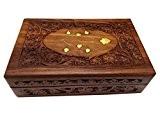 Boîte en bois de bijoux, laiton sculpté boîte de travail vintage, boîte de stockage de 8X5 pouces.Thanks donner ou cadeau ...