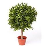 Boule de buis artificiel TOM sur tronc, 252 feuilles, 35 cm, Ø 25 cm - buxus artificiel / buis déco ...