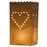 Coeur 10 x Sacs à bougie papier lanterne lampe luminaire blanc - Décoration pour fêtes, mariages, anniversaires par Kurtzy TM